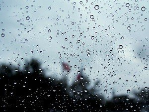 Rain on the truck window